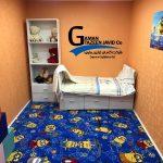 اجرا شده موکت ظریف مصور طرح مینیون در اتاق خواب