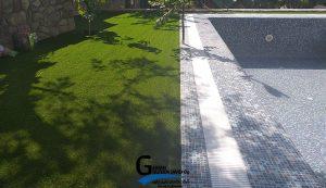 چمن مصنوعی نصب شده در حیاط