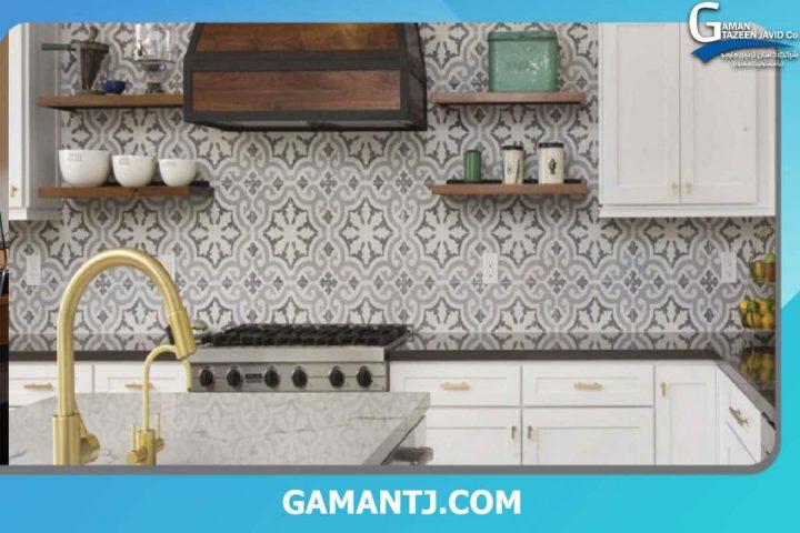کاغذ دیواری روی کاشی آشپزخانه