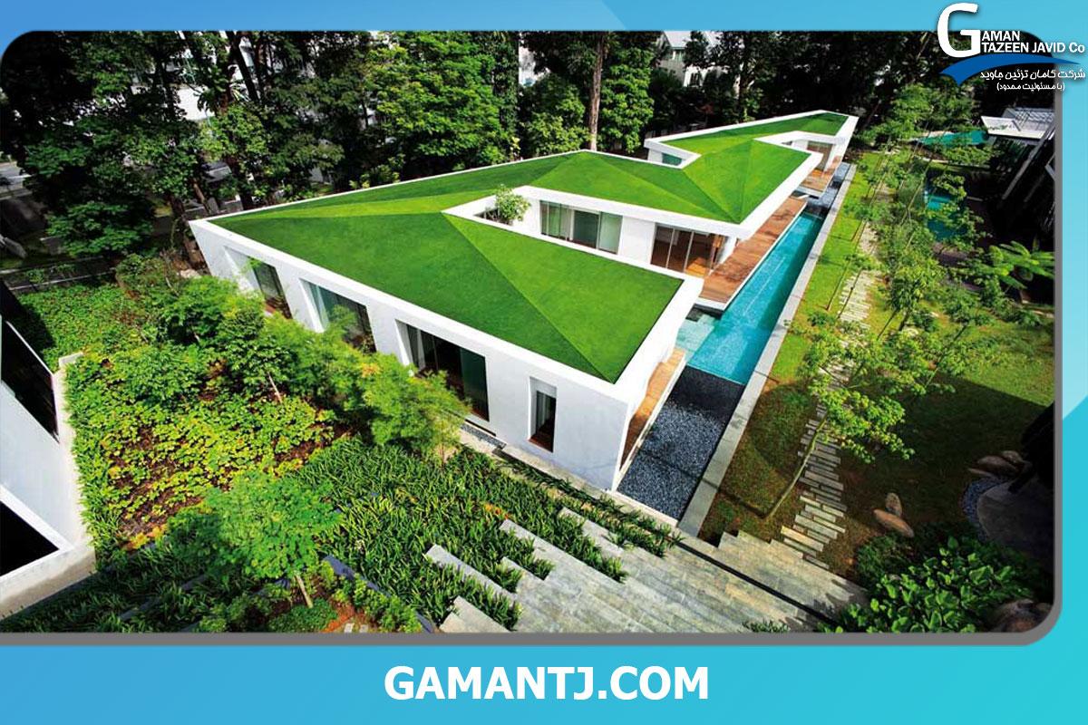 طراحی چمن مصنوعی پشت بام